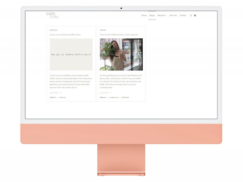 Copy Koffie Blogs page iMac Mockup
