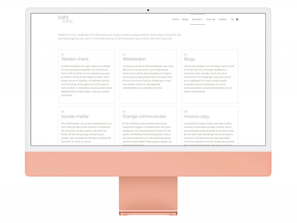 Copy Koffie copywriter page iMac Mockup