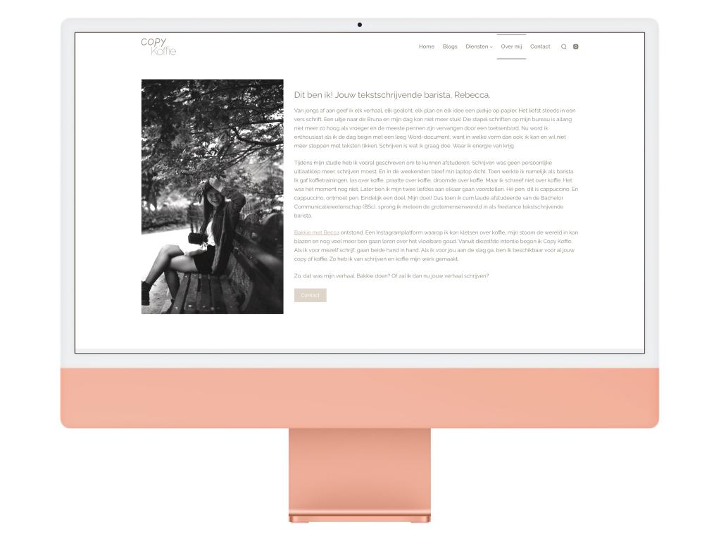 Copy Koffie about Rebecca Website Design iMac Mockup