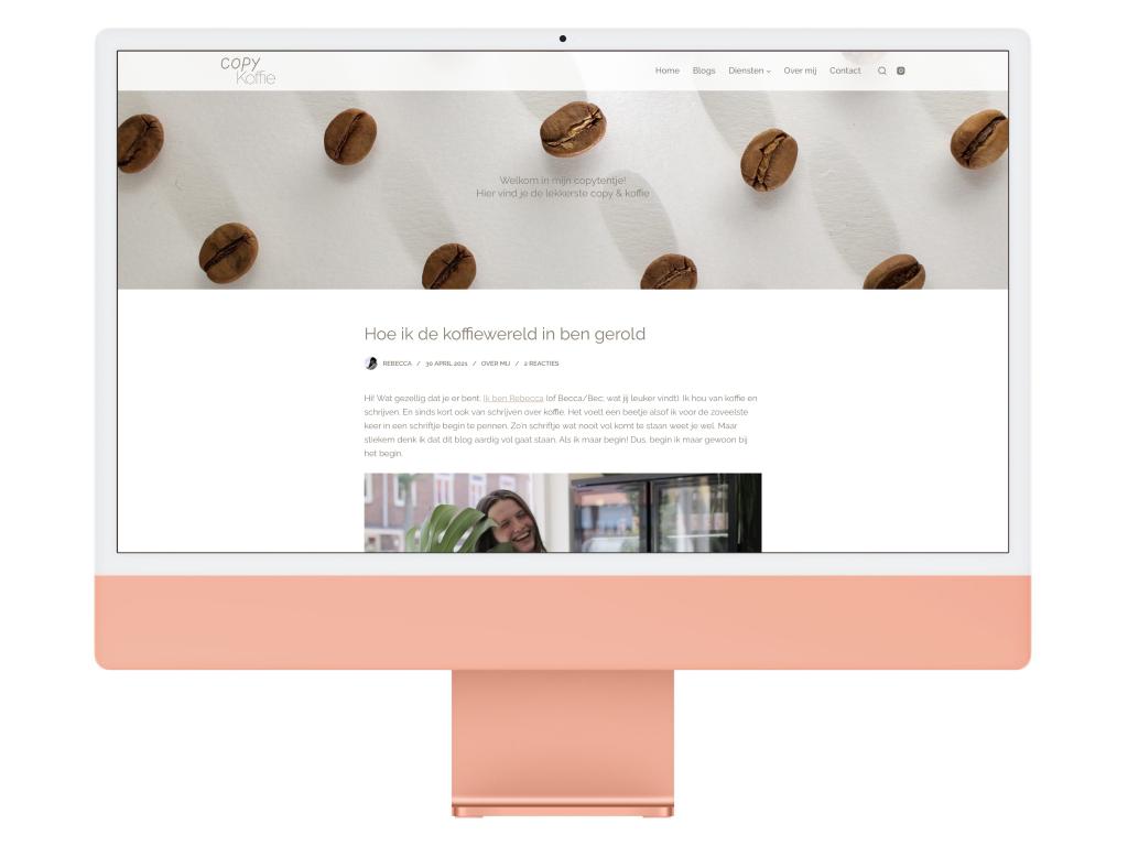 Copy Koffie Blog Website Design iMac Mockup